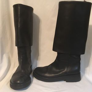 Ann Demeulemeester Black Leather Cuffed Boots 36.5